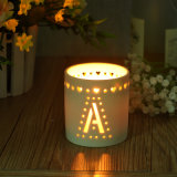 Pierced Flower White Ceramic Candle Holders