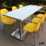 Pure White Artificial Stone Restaurant Dining Table
