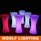 LED Illuminated Modern Drum Shape Bar Cocktail Table