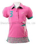 2016 New Design Customized Logo Pink Girls Polo Shirts (ELTWPJ-3)