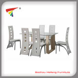 Modern Beautiful Glass Top MDF Leg Dining Table (DT024)