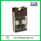 Cheap Non Woven and Clear PEVA Wine Bottle Shopping Bag