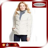 2015 Ladies New Designer White Quilted Cotton Winter Coat
