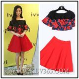 New Fashion Women Elegant Floral Printed Top and Skirt Set Two Piece
