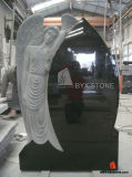 American Style Black Granite Leaning Angel Headstone for Cemetery