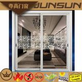 Traditional Wood Grain Aluminum Sliding Doors with Decorative Glass Panel
