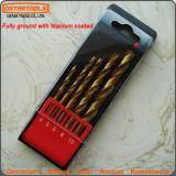 5PCS Titanium Coated HSS Twist Drill Bit Set Straight Shank