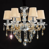Traditional Crystal Chandelier Lighting in Glass Structure with Gold Color