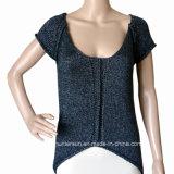 Women Fashion Irregular Knitting Wear with Silver Yar Pullover (HS9054-1)