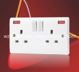 2 Gang 13 AMP Switched Socket, Single Pole with Neon