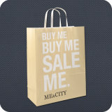 Kraft Paper Shopping Bag with Flat Handle