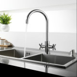 Brass Two Lever Swivel Kitchen Sink Water Mixer