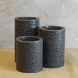 Black Color Rustic Flameless LED Pillar Candles