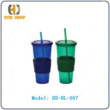 Single Wall Acrylic Cup with Straw (HD-HL-007)