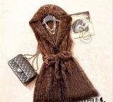 Female Real Natural Knit Mink Fur Vest with Hood