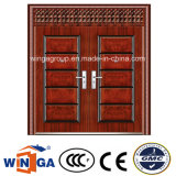 Double Door with Window Outside Security Steel Metal Door (W-SD-02)