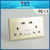 UK 13A British USB Wall Outlet