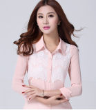 Good Price Slim Chiffon Splice Lace Women Blouse for Summer