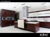 Wood Grain with High Gloss Lacquer Kitchen Cabinet