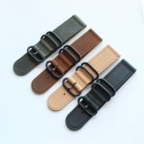 High-Quality 2-Piece Zulu Leather Watch Band with PVD Black Hardware