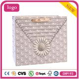 White Card Paper Silver Grey Diamond Shopping Bag