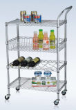 Multi-Functional Metal Kitchen Storage Cart with Basket and Wine Shelf