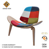 Fabric Cushion Lounge Wood Shell Chair (GV-CH07)