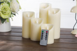 Battery Operated Ivory Flameless Moving LED Real Wax Candle