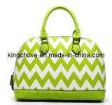 Best Selling White with Green Fashion Ladies Handbag (KCH37)