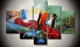 Handmade Home Decor Abstract Violin Oil Painting on Canvas (XD5-070)