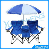 Double Folding Chair Umbrella Table Cooler Fold up Beach Picnic Camping Garden