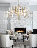 Modern Simple Champagne Golden Metal Crystal Chandelier for Living Room