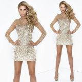 Long Sleeves Evening Dress Sheath Short Prom Party Dress E52712