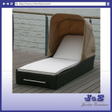 Outdoor Patio Rattan Chaise Lounge with Canopy, Garden Wicker Furniture (J4205)