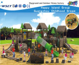Wooden House Outdoor Slide Playground Equipment Hf-10201
