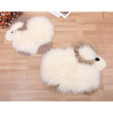 Sheep Shape Sheepskin Cushion with Pocket for Kids Home Decoration