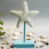 Vintage Polyresin Seastar Table Decoration with Wood Base
