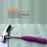H-156 Construction Hardware Hand Tools American Type Claw Hammer with Purple Steel Pipe Handle