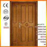Teak Veneer Double-Leaf Wooden Fire Front Door