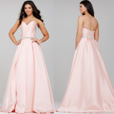 Beading Celebrity Party Gowns Pink Satin Evening Dresses C2771