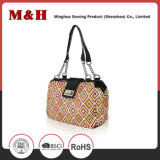 Beaded Bag Handles Fashion PU Women Bag in Brown Color