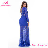 Striking Blue Lace up Back Lace Mermaid Evening Dress