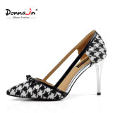 Lady Houndstooth High Heels Pumps Women Leather Bowtie Dress Shoes