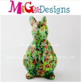 OEM Painting Green with Ladybirds Ceramic Rabbit Bank
