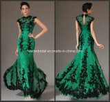Green Chiffon Black Lace Appliques Full Length Mother of The Bride Dress B14923