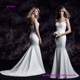 Sexy Bodice Sweetheart Neckline Spaghetti Strap Mermaid Wedding Dress with Sweep Train