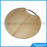 Wood Cutting Board with Stainless Steel Handle