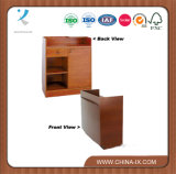 Curved Cash Wrap Counter with Sliding Door Storage Compartment