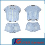 Sport Style Short Sleeve Light Blue Jeans Suite (JC4023)
