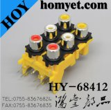 Six Holes RCA Jack with Silvering in Yellow (HY-68412)